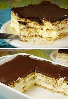 Pastel Eclair. Tarta de chocolate de la abuela.