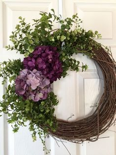 HYDRANGEA WREATH,Burlap Wreath, Spring Wreath,Summer Wreath,Grapevine Wreath, Purple Wreath,Front Door Wreath,Boxwood Wreath,Wedding Wreath by Toleshack on Etsy https://www.etsy.com/listing/274069108/hydrangea-wreathburlap-wreath-spring