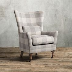 Love this buffalo check chair with casters! Archaism.com. Custom color. Moonstone.