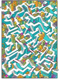Amazing mazes: cities become graphic puzzles – in pictures Puzzle Art, Hard Mazes, Maze Drawing, Amazing Maze, 3d Maze, Maze Design, Mazes For Kids, Mindfulness For Kids, Entertainment