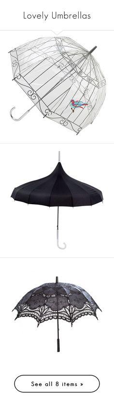 """Lovely Umbrellas"" by ariannapeach ❤ liked on Polyvore featuring accessories, umbrellas, umbrella, print umbrella, clear umbrella, see through umbrella, lulu guinness, transparent umbrella, black umbrella and ncis"