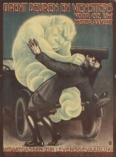 1925. YIKES. Killed by Exhausto. | 10 Very Scary Old Dutch Work Safety Posters