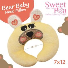 Bear baby neck pillow ITH in the hoop 7x12