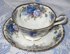 Royal Albert MOONLIGHT ROSE Peony Shaped Tea Cup And Saucer Beautiful, Immaculte by AsFarAsVintage on Etsy
