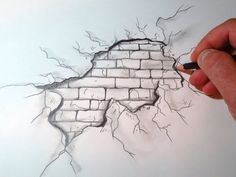 Drawing On Walls Pencil - Easy Wall Drawing Ideas Meaningful Drawings Cool Easy Drawings Pencil Drawing Print Graphite Art Original Pencil Sketch Wall How To Draw A Cracked Bri. Easy Pencil Drawings, Cool Easy Drawings, Easy Drawings Sketches, Cartoon Drawings, Kawaii Drawings, Beautiful Drawings, Easy 3d Drawing, Pretty Drawings, Easy Graffiti Drawings