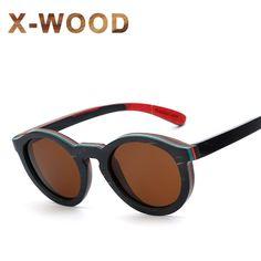 61882b5b613  Free Shipping  Buy Best X-WOOD Round Circle Polarized Wood Sunglasses For  Men Black Frame Skateboard Wooden Sun Glasses Women Glasses Brand Designer  Online ...