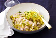 Leek & Mushroom Chicken with Herbed Spaghetti Squash