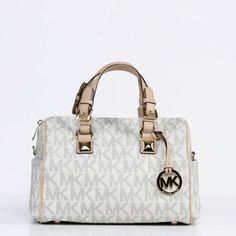 MICHAEL Michael Kors  Grayson  Chain Medium Chain Vanilla Satchel -  Overstock™ Shopping - 19137eae43