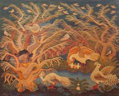 """Birds and the Old Tree, Karina Ali, 1985.  Wall hanging tapestry from Ramses Wissa Wassef in """"Threads of Life"""" book, 1990."""
