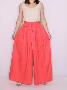 Pantalones de lino pantalones palazzo Coral moda por dresslike