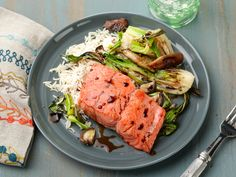 30-Minute Pan-Seared Salmon with Baby Bok Choy and Shiitake Mushrooms recipe from Food Network Kitchen via Food Network