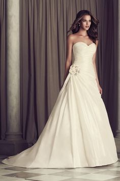 Sweetheart A-Line Wedding Dress  with Asymmetric Waist in Silk Dupioni. Bridal Gown Style Number:32839078