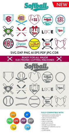 Softball SVG Cut Files - Monogram Frames SVG DXF Eps Silhouette Studio Png Pdf Jpg Ai Cdr cuttable files for Silhouette Studio, Cricut Cameo by Roxanne Eastman