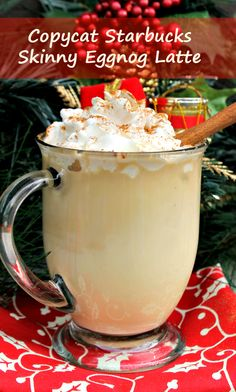 During the holidays, I look forward to the eggnog latte from Starbucks. Now I ca… During the holidays, I look forward to the eggnog latte from Starbucks. Now I can make it at home with my Copycat Starbucks Skinny Eggnog Latte recipe. Eggnog Coffee, Coffee Snobs, Coffee Creamer, My Coffee, Coffee Drinks, Coffee Lovers, Skinny Coffee, Espresso Drinks, Drinking Coffee
