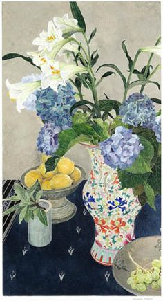 Cressida Campbell.  Lilies and Lemons with Nonya Vase, 2006.