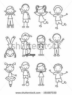 Similar Images Stock Photos Vectors of hand drawing cartoon happy kids playing - 148705514 Shutterstock Art Drawings For Kids, Doodle Drawings, Cartoon Drawings, Easy Drawings, Doodle Art, Drawing Sketches, Art For Kids, Children Drawing, Machine Silhouette Portrait