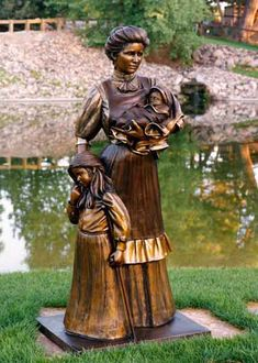 """'Tender Touch' - sculpture by George Lundeen;  Life-size bronze statue;  66""""h x 31""""w x 24""""d"""