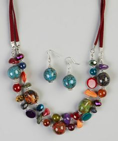 Another great find on #zulily! Green & Blue Gypsy Girl Bead Necklace & Earrings #zulilyfinds