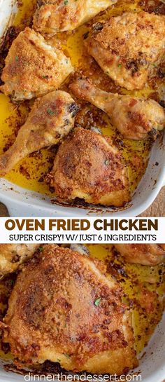 Easy Oven Fried Chicken with just five ingredients tastes like fried chicken without the deep frying with bisquick mix, butter and a few spices. #friedchicken #chicken #fried #summer #dinner #baked #kidfriendly #bakedchicken #dinnerthendessert