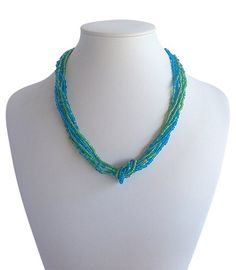 Love Knot Green/Blue A$19.50 Blue Green, Knot, Artisan, Beaded Necklace, Jewelry Making, India, Accessories, Collection, Fashion