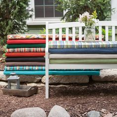 Have to have it. Coral Coast 55 x 18 Outdoor Cushion for Benches and Porch Swings - $49.99 @hayneedle.com