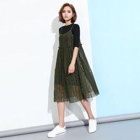 [Soonyour] 2017 Весной Новой Корейской женской Цветок Полый Кружева Камзол Dress Сплошной Цвет Плиссированные Платья T06206