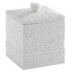 Kassatex Damask Accessories Cotton Jar - White : Target