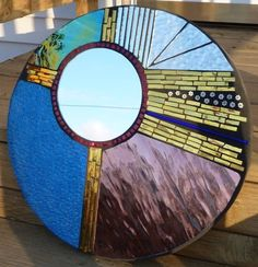 stained glass patterns round   Round Abstract Glass Mosaic Mirror - Delphi Stained Glass