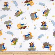 Minky Cuddle Classic Print Noah's Ark Snow from @fabricdotcom  This soft and plush Cuddle minky fabric features a baby themed print of animals from the Noah's Ark story. Animals such as lions, birds, monkeys, giraffes, zebras, hippos, fish, and elephants are safe on the ark. Colors include Baby Blue, Peacock, Pumpkin, Sky, Snow White, Sunshine, Charcoal and more on a Snow White background. Ideal for baby blankets and accessories, quilts and plush toys.