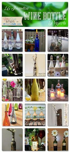 16 Inventive Wine Bottle Projects | curated by 'Glitter Glue and Paint' blog!