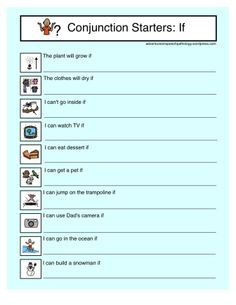 Conjunction Starter Worksheets: If - Pinned by – Please Visit for all our pediatric therapy pins Therapy Games, Therapy Activities, Speech Therapy, Therapy Ideas, Speech Pathology, Speech Language Pathology, Speech And Language, Language Arts, English Language