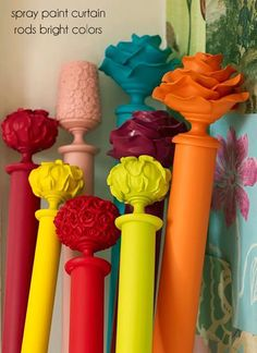 spray paint curtain rods to add a pop of color into a room - www.lovelucygirl.com