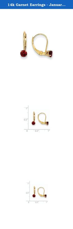 14k Garnet Earrings - January, Gem Ctw.0.66. Attributes Polished 14k Yellow gold Leverback Genuine Garnet Product Description Material: Primary - Purity:14K Stone Type 1:Garnet Stone Color 1:Red Stone Quantity 1:2 Length of Item:14 mm Stone Weight 1:0.330 ct Charm/Element Length:14 mm Charm/Element Width:4 mm Material: Primary:Gold Stone Shape 1:Round Stone Size 1:4.00 mm Stone Treatment 1:Not Enhanced Width of Item:4.5 mm Product Type:Jewelry Jewelry Type:Earrings Sold By Unit:Pair...