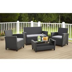 Cosco Outdoor Malmo 4-piece Resin Wicker Conversation Set - Overstock™ Shopping - Big Discounts on Cosco Sofas, Chairs & Sectionals