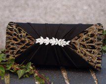 Harriet Hoot Pheasant Feather Black Evening Bag