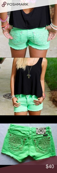 Miss Me Neon green shorts New! Never worn. Miss Me Shorts Jean Shorts