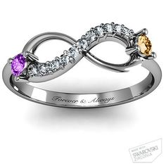 Infinity ring with birthstones and engraving. This is cute but I love the one Rob bought me better.