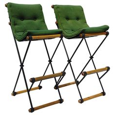 Pair of Cleo Baldon High Back Bar Stools | From a unique collection of antique and modern stools at http://www.1stdibs.com/furniture/seating/stools/