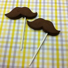 Mustache cookies on a stick by Flour & Sun, via Flickr