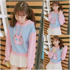 """use code: """"puririnhime"""" to get 10% OFF everytime you shop at www.sanrense.com  Pink cartoon hooded pullover SE8920"""