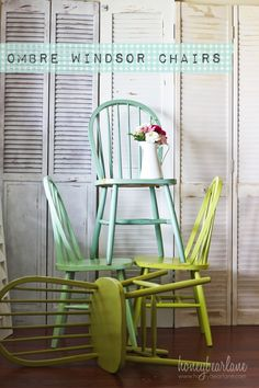 ombre windsor chairs - these are the type of chairs I want for the dining room.  I'm thinking of painting the turquoise - and I'm hoping I can find 6-8 of them at goodwill/thrift stores.