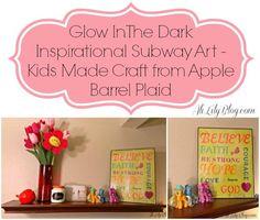 Apple Barrel Plaid Glow In The Dark Summer Kids Craft- Inspirational Subway Art #plaidsummerkids