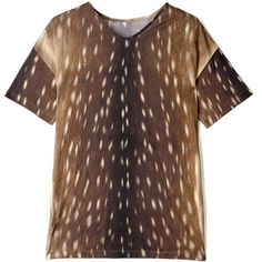 Carven Fawn Print Jersey T-shirt (2,670 MXN) ❤ liked on Polyvore featuring tops, t-shirts, shirts, print t shirts, cotton short sleeve shirts, cotton shirts, brown shirt and animal print t-shirts