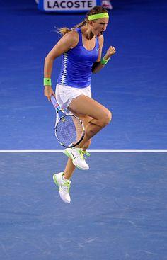 Victoria Azarenka celebrates her win over Maria Sharapova to become 2012 Australian Open champion.  January 2012.  #tennis