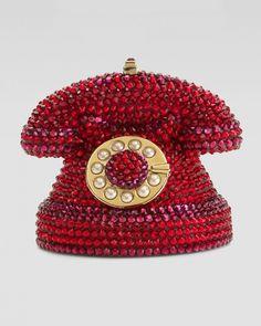 Judith Leiber Red Mini Ringaling Rotary Phone Minaudiere  Clutch..