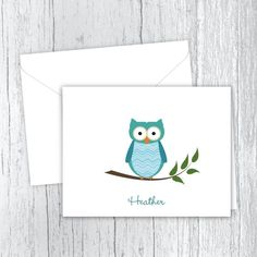 Teal Owl Personalized Note Cards Small Letters, Personalized Note Cards, White Envelopes, Card Stock, Birthday Gifts, Owl, Stationery, Notes, Prints
