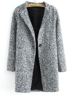 Grey Long Sleeve Single Button Tweed Coat 33.83