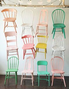 Gorgeous painted chairs in pastel shades, love the miss-matched quality and of course the colours!