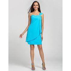 gaine / colonne un genou longueur robe de demoiselle d'honneur de mousseline de soie épaule (631214) – USD $ 59.39