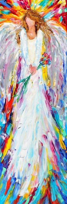 Angel Watching Over Me 12 x 36 Gallery Quality by Karensfineart